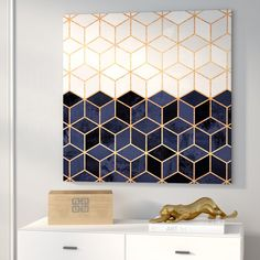 'White and Navy Cubes' Graphic Art on Wrapped Canvas accent living room Art Deco III by Elisabeth Fredriksson - Wrapped Canvas Graphic Art Print Blue And Gold Living Room, Navy Living Rooms, Living Room Accents, Living Room Accessories, Home Decor Accessories, Room Wall Decor, Living Room Decor, Canvas For Living Room, Paintings In Living Room