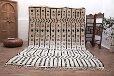 "Large Soft BENIOURAIN 8'1""x11'8"" Soft Bohemian Moroccan Berber kilims Beni ourain rug Azilal Area Rug Berber tribal art more accent rugs"