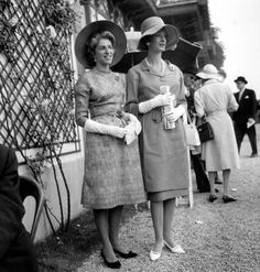 Marie-Helene de Rothschild and Marella Agnelli at a horse race, Chantilly France, June 5, 1960