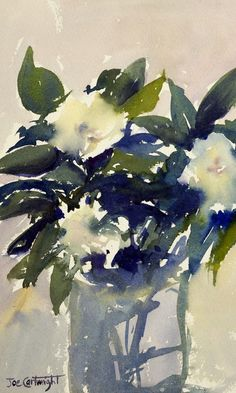 White flowers in glass vase watercolor painting - Painting With ...