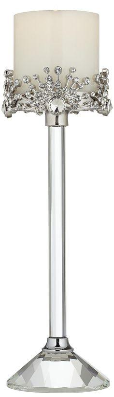 Emmeline Rhinestone Crystal Pillar Candle Holder -