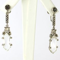 These 1920s Czech Art Deco screw-back dangling earrings with clear crystals and marcasites are elegant and versatile.