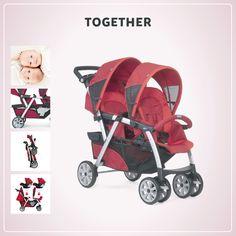 Alegria em dobro para os nossos bebês que poderão passear juntos no carrinho Together. Chicco Together é o carrinho ideal para gêmeos ou irmãos de idades próximas.  Possui sistema de encaixe exclusivo e inovador para 2 poltronas KeyFit 0+, em ambos os assentos, garantindo máxima versatilidade de uso.  Os assentos são espaçosos e confortáveis, ambos possuem apoio para os pés proporcionando total conforto.  Acompanha duas capotas para o sol e um espaçoso cesto porta objetos.