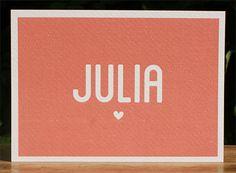 Voor Julia hebben wij een mooi geboortekaartje ontworpen. Een mooie oud roze kleur, een rustig maar mooi kaartje.