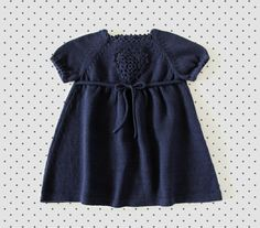 Knitted baby dress. Navy blue. Crochet heart. 100% cotton. READY TO SHIP size 1-3 months.