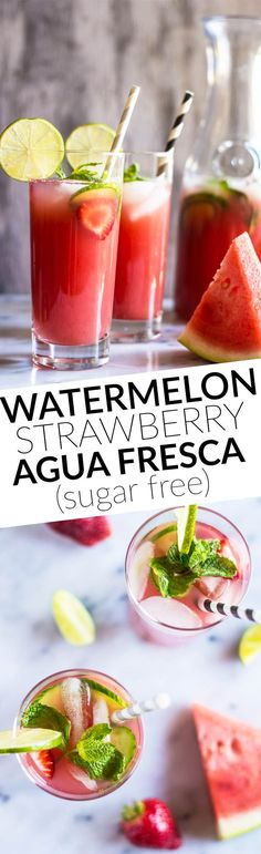 Sugar-Free Watermelon Strawberry Agua Fresca - super simple, five-ingredients | by @healthynibs