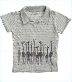 Nano, Giraffe Pin Stripe Polo in Dove Grey