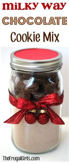 Milky Way Chocolate Cookie Mix in a Jar! ~ from TheFrugalGirls.com ~ this is such a quick and simple Mason Jar gift to put together and makes DELICIOUS cookies!