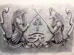 Anubis&Horus#16 Horus Tattoo, Anubis Tattoo, Hamsa Tattoo, Egyptian Symbols, Ancient Egyptian Art, Chest Tattoo Unique, Anubis And Horus, Egyptian Drawings, Egyptian Tattoo Sleeve