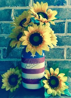 American Flag painted chalk paint mason jar vase half gallon with flower frog Ball 4th of July