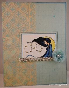 Card for Queen Kat Designs, made with their Celeste stamp by Nora Blansett
