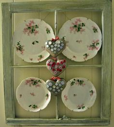 Old window frame, decorated