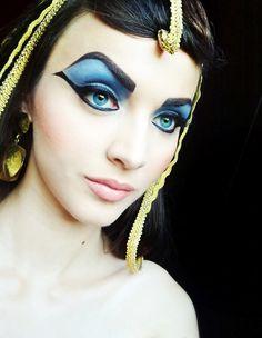 Egyptian makeup #eyes #eyeshadow #skin #blue #Cleopatra