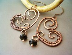 Wire Wrapped Heart Copper Earrings  wire wrapped by GearsFactory, €17.00