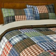 These would be so nice on the boys' beds Patchwork Quilt (This is from pottery barn) Flannel Quilts, Plaid Quilt, Shirt Quilts, Plaid Flannel, Man Quilt, Boy Quilts, Quilt Modernen, Pottery Barn Teen, Quilt Blocks