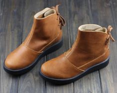 Handmade Women Brown Boots,Ankle Boots,Oxford Women Shoes, Flat Shoes, Retro Leather Shoes, Casual Shoes, Short Boots,