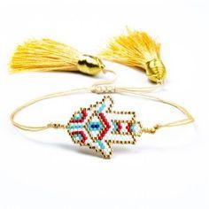 Weaving Fatima Hand Hamsa Charm Bracelets New Hand-made Jewelry Gift for Women girls Glass Miyuki Seed Beads Bangles Adjustable Cheap Charm Bracelets, Summer Bracelets, Bohemian Bracelets, Braided Bracelets, Fashion Bracelets, Tassel Jewelry, Jewelry Gifts, Shell Bracelet, Hand Of Fatima