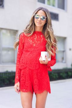 Great Valentine's Day Outfit Idea - Red Lace <3 | @stylecaster