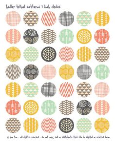 Great printables for your crafts. tribal patterns 1 inch circles and squares, collage sheets, pink mustard yellow aqua purple bottlecap images, triangles arrows 620 Tribal Patterns, Pretty Patterns, Graphic Patterns, Textile Patterns, Chevron Patterns, Boho Pattern, Pattern Art, Circle Pattern, Pattern Ideas