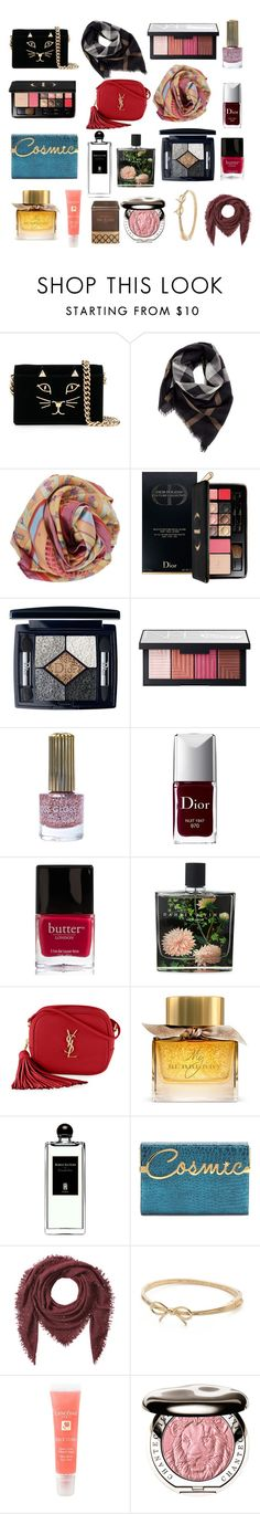 """""""Bestie presents"""" by ferretsmither ❤ liked on Polyvore featuring Charlotte Olympia, Burberry, Hermès, Christian Dior, NARS Cosmetics, Floss Gloss, Butter London, Nest Fragrances, Yves Saint Laurent and Serge Lutens"""