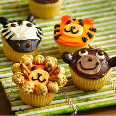 Jungle Animal Cupcakes how to video on children food.net