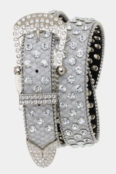 """The ever so popular rhinestone belts are back! Complete any outfit with a little bling. Flaux leather with snakeskin look. Small/Medium fits to 30"""" - Medium/Large fits to 36"""""""
