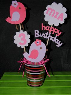 Bird Birthday Centerpiece With Childs Age And by UniquPartyCraft,