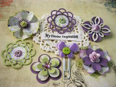 Light Purple Green and White Scrapbook Paper Embellishments and Paper Flowers