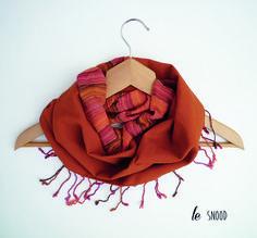 snood écharpe femme rouille à franges   Echarpe, foulard, cravate par lefil  Couleur Brique 3c14ab81acd