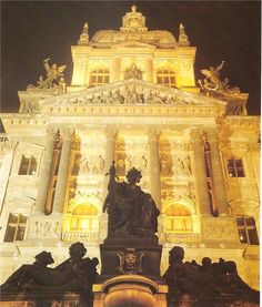 Night Prague: National Museum by J.Macht, early 90's