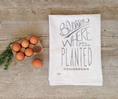 Tea Towel  Bloom Where You Are Planted Charcoal by KitchStudios