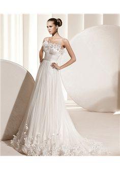 Precious A-line Scalloped Court Ruffles Wedding Dress