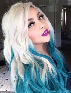 Hair Chalk — Can you pull off a black to white ombre hair? Blonde And Blue Hair, White Ombre Hair, Teal Hair, Ombre Hair Color, Hair Colors, Blonde Dip Dye, Blonde Ombre, Blonde Color, Mermaid Hair