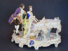 """12"""" x 9"""" Porcelain Volkstedt Dresden Couple Playing Piano with Floral Details:"""