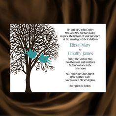Tree  Bird Invitation & RSVP  Tree Wedding by KateTaylorDesigns