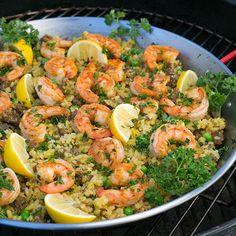 Harry's Shrimp Paella Print Prep time 10 mins Cook time 45 mins Total time 55 mins Making one-pot rice dishes is a common Spanish Saffron, Spanish Rice, One Pot Dishes, Rice Dishes, Paella Pan, Frozen Shrimp, Hot Sausage, Sauteed Shrimp, Large Shrimp