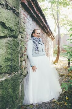 Real wedding in Finland. Dress made by Pukuni (www.pukuni.fi). Wedding dress with lace and tulle.