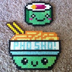 Kawaii Ramen and Sushi perler beads by theperlerbeadproject