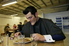 Here's a picture of Robbie Rotten eating dinner while in full makeup and costume that I found on Google image search.  robbie rotten becoming a meme is definitely one of the most left field things to happen this year