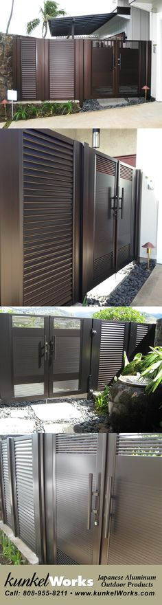 Look at the stunning finished product thats providing a stylish perimeter . With several colors to match the style of your home, check out Kunkelworks Japanese anodized aluminum gates that are weather proof and corrosion resistant. Iron Main Gate Design, Home Gate Design, House Main Gates Design, Steel Gate Design, Front Gate Design, House Front Design, Door Design, Aluminium Gates, Metal Gates