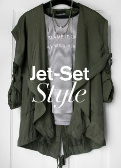 When it comes to spring break travel, finding the perfect travel  look that is equal parts comfortable and stylish can be a problem... but there is a solution. Start with your go-to leggings or skinny jeans, then pair with an Express One Eleven tee to stay comfy in case you want to catch some shut-eye on the flight. Last, add a light drapey anorak or jacket to keep warm and also give the look some structure. Don't be surprised if you get offered the upgrade.