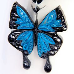 Blue Emperor Butterfly Pendant Resin Dipped Paper by HoneysHive.