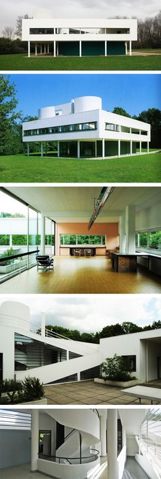 Ville Savoye, Le Corbusier.   Located in Poissy on the outskirts of Paris. Built between 1928-1930. It's been restored as a house-museum and is currently classified as a French National Historic Landmark.