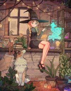 Witch Painting, Witch Drawing, Witch Art, Cartoon Kunst, Anime Kunst, Cartoon Art, Anime Art, Art And Illustration, Watercolor Illustration