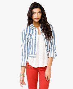 Striped Denim Jacket | FOREVER21 - 2036557568