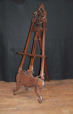 Large Victorian Mahogany Easel Painting Stand Artist Architectural
