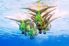 The underwater view shows team Ukraine competing in the Teams Technical Routine Final during the synchronised swimming event. FRANCOIS-XAVIER MARIT/AFP/Getty Images)