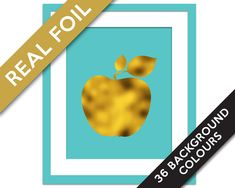 Apple Art Print - Gold Foil Print - Food Poster - Gold Foil Kitchen Wall Art - Food Art - Kitchen Art Print - Gift for Chef Gift for Teacher
