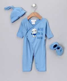 Cute boy stuff is hard to find - this website has LOTS of really cute and unique items for little boys.  BTW - were definitely on baby watch this weekend - not long now before Calvin can use al the little outfits Grandmas been tempted to buy!Take a look at this Dark Blue Tax Deduction Playsuit Set - Infant by Rumble Tumble: Infant Apparel on #zulily today!