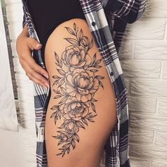 Tattoo history, tattoos with meaning, tattoos for girls, – Jessica Calabrese – Tattooo Side Hip Tattoos, Flower Hip Tattoos, Hip Thigh Tattoos, Hip Tattoos Women, Floral Thigh Tattoos, Forearm Flower Tattoo, Forearm Sleeve Tattoos, Dope Tattoos, Pretty Tattoos